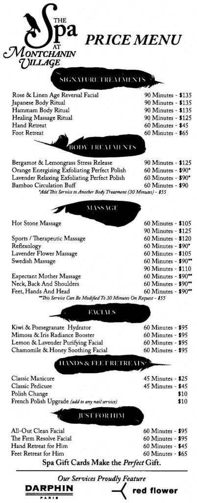 montchanin_Spa menu