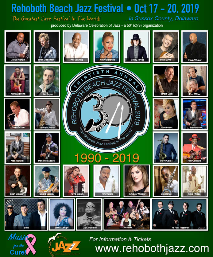 Rehoboth Beach Jazz Festival Oct 17 – 20, 2019