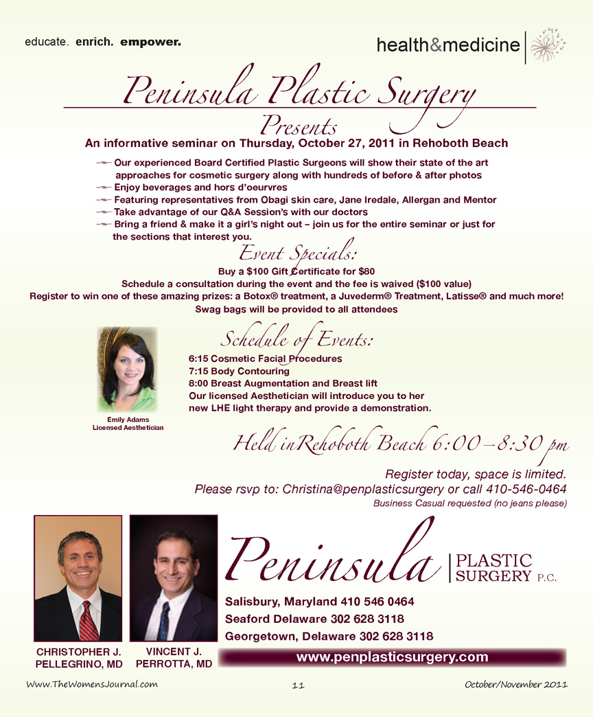 Peninsula Plastic Surgery Presents an Informative Seminar…, The Women's Journal